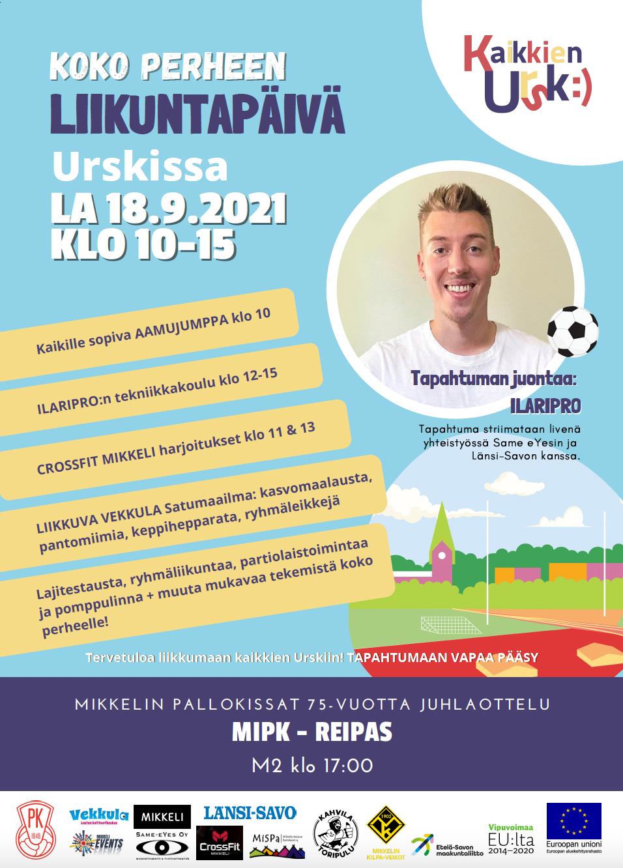 Koko perheen liikuntapäivä Mikkelin Urheilupuistossa 18.9.2021